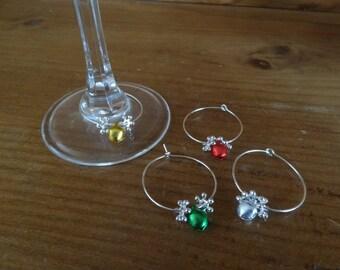 Set of 4 Christmas Wine Glass Charms (Jingle Set)