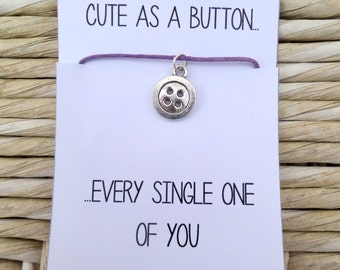 Cute as a Button Charm Friendship Bracelet With Quote