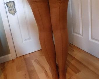 Vintage Thigh High Back Seam Garter Cuban Heel Deadstock Unworn Stockings in Packaging