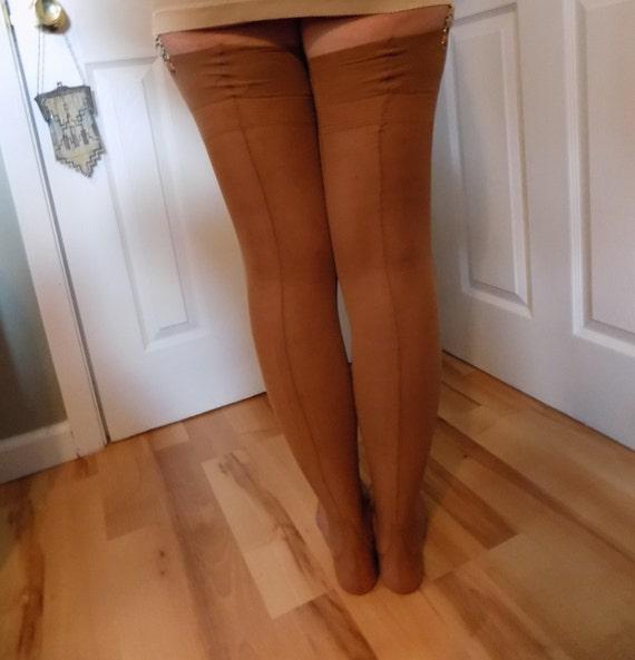 Vintage Thigh High Back Seam Garter Cuban Heel Deadstock