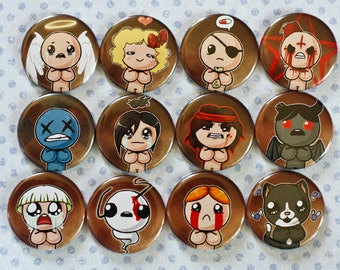 FAN MADE the Binding of Isaac + Rebirth button set of 12