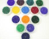 Czech Glass Seed Beads, 10/0 Seed Beads, Seed Bead Set, Seed bead Kit, 10/0 Seed Bead Set/Kit, Multi Color, 15 Colors, Bright Colors AB