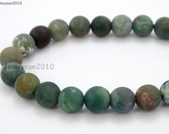 Natural Matte Indian Agate Frosted Gemstones 4mm 6mm 8mm 10mm 12mm Round Loose Spacer Beads 15'' Strand Jewelry Design