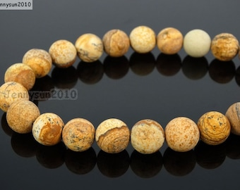 Natural Matte Picture Jasper Frosted Gemstones 4mm 6mm 8mm 10mm 12mm Round Loose Spacer Beads 15'' Strand Jewelry Design
