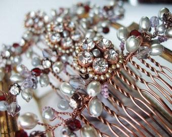 Grey Bridesmaid Hair Comb. Pearl & Rhinestone Hair Accessories in Antique Copper. Vintage Style Wedding Hair Brooch. Jeweled Headpiece