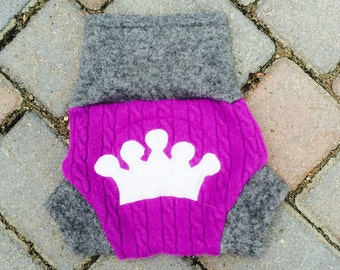Cloth Diaper Cover/Wool Soaker/Shorties/Nappy Cover - Purple Cableknit with a Crown Applique - Size Medium