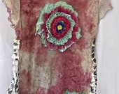 GREEN ROSE TEE, Boho Art Collage, Altered Couture, Tie-Dyed Handmade, Feather-weight Tee, Art to Wear, Summer Beach, Funky Top, Embroidered