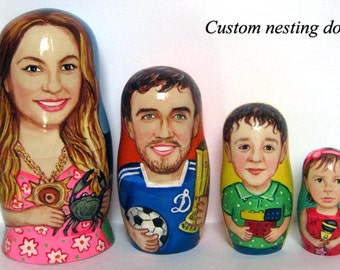 Custom nesting doll  Custom portrait /  by photo        4 pieces