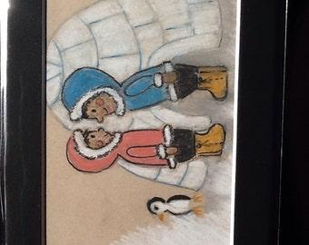 Eskimo original pastel picture