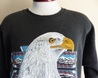 vintage 90's American Bald Eagle nature southwest native american print black fleece graphic sweatshirt crew neck pullover jumper large