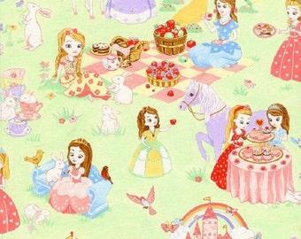 Fat Quarter Princess Tea Party Green 100% Cotton Quilting Fabric Nutex