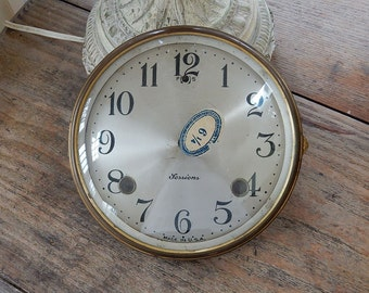 VINTAGE CLOCK FACE - Sessions - Brass Open Glass Cover - Tin - Metal - Altered Art - Steampunk -
