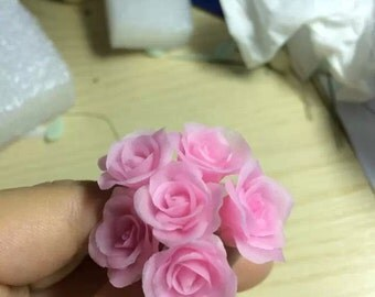Dollhouse Miniature Polymer Clay rose Flower