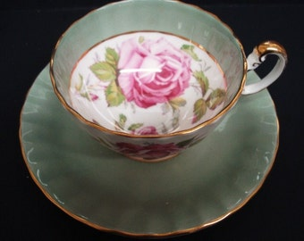 BEAUTIFUL  CUP and SAUCER =  Set by Aynsley Bone China - Made in England - Stunningly Beautiful Decoration