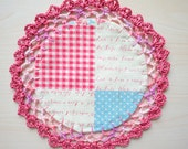 Fabric Doily with Crocheted Lace