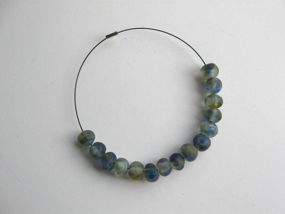 Reserved for Caroline, Handblown Glass Bead Necklace on a wire choker, Jewelry, Women's Accessory
