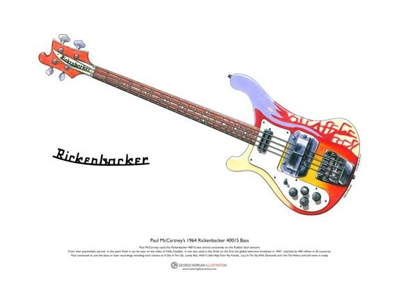 Paul McCartneys 1964 Rickenbacker 4001S Bass ART POSTER