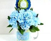 Baby shower gift arrangement/ Blue carnation floral centerpiece/ Baby boy mug bouquet/ It's A Boy gift mug/ New baby centerpiece (BB34)