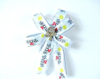 Tennis gift bow, Gift wrapping bow, Bow for tennis players, Handmade gift bow, Bow for children and adults, Girls hair bow, Home decor