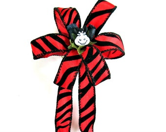 Red and black zebra gift bow/ Small gift wrapping bow/ Zebra safari party decoration/ Zebra bow and ribbon/ Zebra face gift bow (FN79)