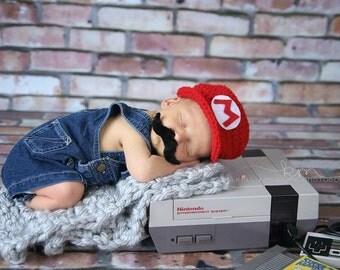 Mario Brothers Hat Crochet newborn Mario and Luigi toddler and newborn