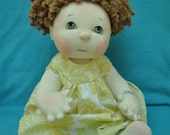 "SALE! Fretta's Textile Baby Girl. 17"" / 43 cm. Strawberry Blonde Hair / Gray-Blue Eyes. All Natural Soft Sculpted Jointed Baby, Child Safe"