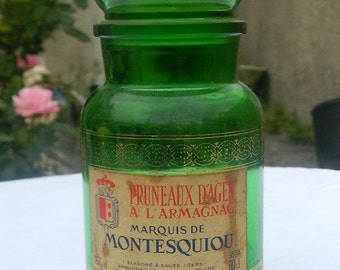 """Vintage french Agen  """"Bottle Prunes in Armagnac was the Marquis Montesquiou"""""""
