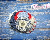 Red, Ivory, Blue, July 4th Headband, Chambray Hair Accessory, Light Blue Hair Piece, Patriotic Hair Bow, Denim Flower Hair Clip, Light Blue