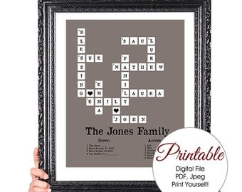DIGITAL FILE, Printable, Family Tree Crossword Puzzle, Personalized, 50th Wedding Anniversary, Family Tree Print, Family Member Names,