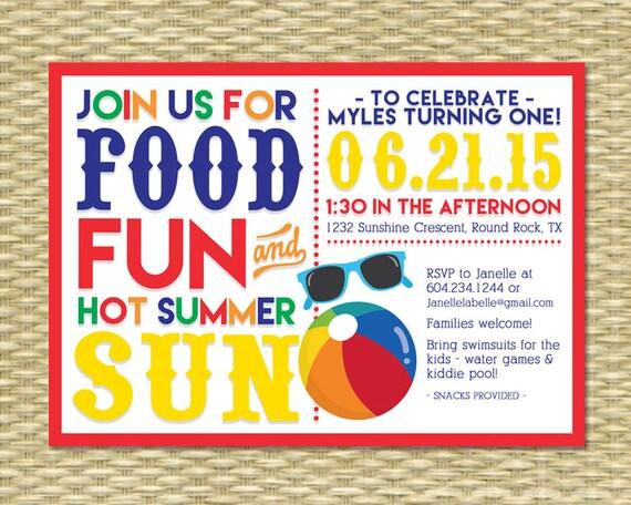 Kids Birthday Pool Party Birthday Summer Birthday Kids Beach Party – Kids Pool Party Invitation