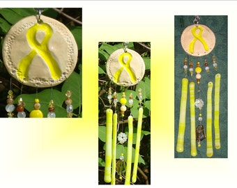 Yellow Ribbon Glass Windchime, Ceramic Ribbon Wind Chime, Stained Glass decor, Suncatcher, Window Hanging Mobile, Military Gifts, Pottery