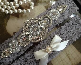 SALE-Wedding Garter-Garters-Stretch lace-gray garter-Garter-Rhinestone-Pearl garter-Keepsake-Gray-Grey-Lace Garter Set-bridal garter-ivory