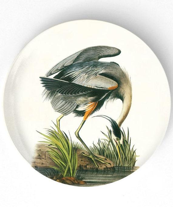 Great Blue Heron Audubon melamine plate