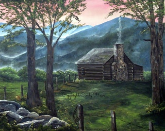Blue ridge mountains etsy for Log cabin blue mountains