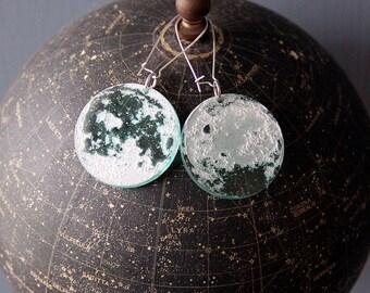 Laser Engraved Moon Earrings: Near and Far Side
