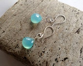 Aqua Chalcedony Gemstone and Sterling Earrings