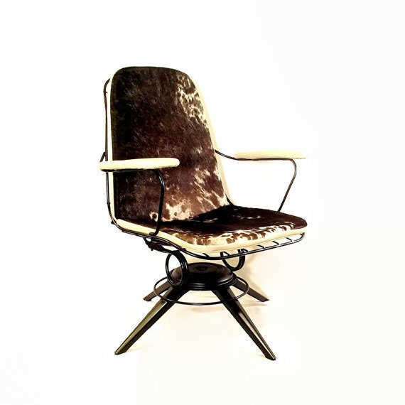 Cowhide Barstools Vintage Black White Hairhide Leather Bar: Mid Century Chair