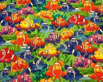 CLOWN FISH DESIGN  New pattern  1  Yard Piece - 100% Cotton Timeless Treasures Multi Colors