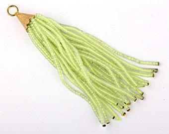 CLEARANCE %20 OFF - Transparent Phosphoric Yellow,   Afghan/Tibetan Heishi Seed Bead Tassel, Boho Tassel, 1 pc- 102 mm/4''-  // TAS-021