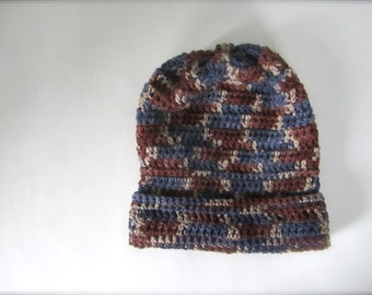 Crochet Brown Coffee Chocolate Deep Blue Midnight Blue Light Brown Mocha Earth Tone Multicolored Slouchy Hat, Beanie Hat, Adult Hat