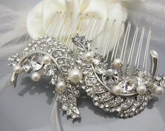 Silver Leaf Hair Comb Pin Collection, Boho,Vintage Bridal haircomb, Boho Wedding Silver Hair accessory Wedding hair jewelry,Bridal hair clip