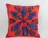Vintage Appliqué Pillow,Flower Appliqué Pillow,Decorative Pillow,Sofa Pillow,70s Decor Pillow,Boho,Hippie Chic,Glamper,Free Shipping,6PMT15