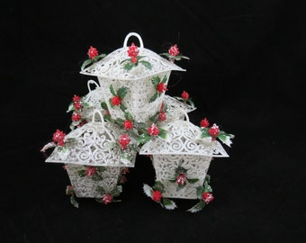 Vintage Plastic Holly Ornaments,Holly Lantern Ornaments,1950s Christmas Ornaments,Plastic Filigree Ornaments,Free Shipping,6HTT15