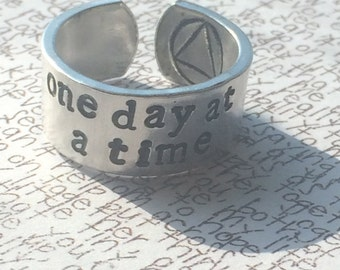 one day at a time/ just for today   stamped aluminium cuff ring  recovery symbol inside sobriety eating disorder
