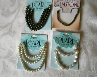 4 Packages of Glass Pearl Elegance and Gemstone Beads for Jewelry Making