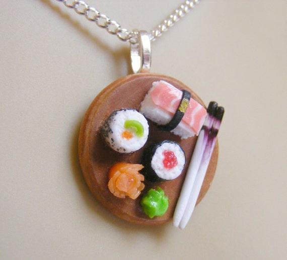 Food Jewelry Sushi Miniature Food Pendant - Miniature Food Jewelry,Handmade Jewelry,Mini Food Jewelry,Food Jewellery,Food Necklace