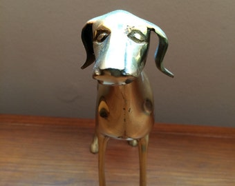 Brass vintage greyhound or lurcher dog