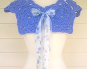 Knitting Pattern-Crochet Flower Capelet, crochet motif medallion modular lace capelet shoulder warmer wrap pattern