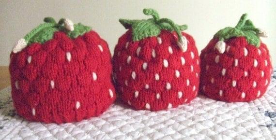 Knitting Pattern Strawberry Hats, knit strawberry small child medium child ad...