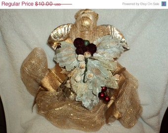 Gold burlap angel tree topper/hand made/ gold glitter paint/folk art